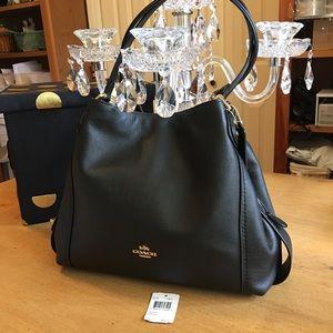 Coach Edie 31 Black Pebble Leather Bag new